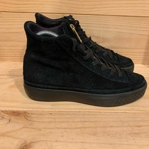Converse Black Suede High Tops with Zipper